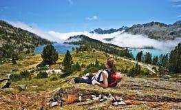 Girl hiker enjoying Panorama of Neouvielle mountain Massif Royalty Free Stock Image