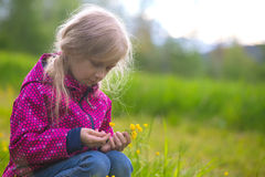 Girl hiker on a meadow Royalty Free Stock Photos
