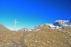 Girl hiker on a mountain pass Stock Photos