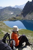Girl hiker on a rest Royalty Free Stock Image