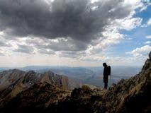 Girl hiker summit mountain top Stock Photos