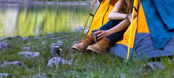 Girl hiker Stock Images