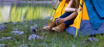 Girl hiker Stock Images