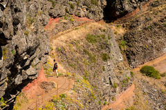 Girl hiking in Madeira Royalty Free Stock Images