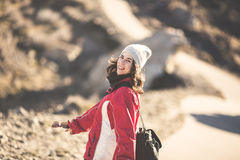 Girl hiking Stock Photography