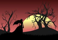 Girl on an hill at sunset illustration Royalty Free Stock Photos