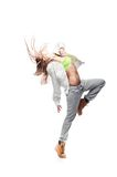 Girl hip-hop dancer. Young caucasian hip-hop dancer woman showing some moves royalty free stock images