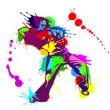 Girl hip hop dancer with colorful paint splashes. Vector illustration - beautiful girl street dancer with sportive body in bright style with colorful ink and Royalty Free Stock Image