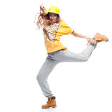 Girl hip-hop dancer. Young caucasian hip-hop dancer woman showing some moves Stock Image