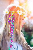 Girl hippie indie style in nature Royalty Free Stock Photography