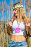 Girl hippie indie style in nature Stock Photography