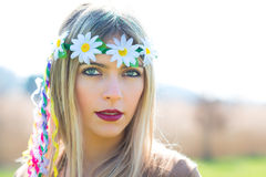 Girl hippie indie style in nature Stock Images