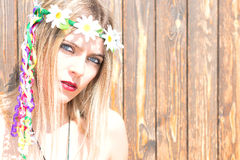Girl hippie indie style in nature Stock Image