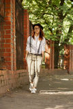 Girl hipster walking Royalty Free Stock Photo