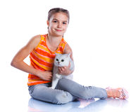 Girl with his cat Royalty Free Stock Image