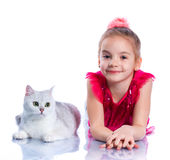 Girl with his cat Stock Photography