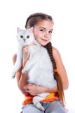 Girl with his cat Stock Images