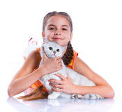 Girl with his cat Royalty Free Stock Images