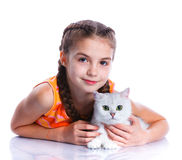Girl with his cat Royalty Free Stock Photography