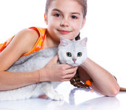 Girl with his cat Royalty Free Stock Photos