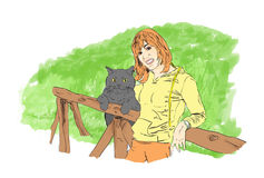 The Girl and his cat. Illustration of the young girl and his cute cat Royalty Free Stock Photo