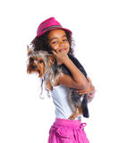 Girl with his Yorkshire terrier Royalty Free Stock Photos
