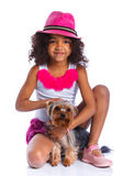 Girl with his Yorkshire terrier Royalty Free Stock Image