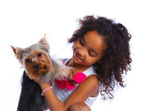 Girl with his Yorkshire terrier Stock Photo