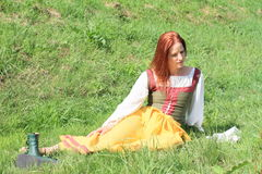 Girl in historical dress Royalty Free Stock Image