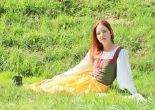 Girl in historical dress Stock Photos