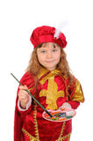 Girl in a historical suit with a brush and paints Royalty Free Stock Image