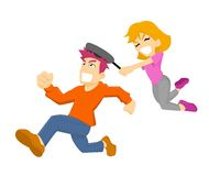 Girl Hit Man using Frying Pan. A Boy run while a girl chase him and hit him by frying pan Royalty Free Stock Images