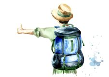 Girl hitchhiker in a green blouse and a straw hat with a backpack on her shoulders standing with her back to the viewer. On white background. Watercolor hand Stock Images