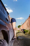 Girl hitchhiker Stock Images
