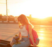 Girl hitchhiker Royalty Free Stock Images