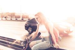 Girl hitchhiker Stock Photos