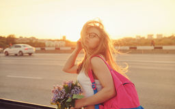 Girl hitchhiker Royalty Free Stock Photography
