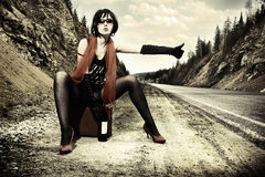 Free Girl Hitchhiking With Suitcase Royalty Free Stock Photos - 15237158