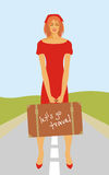 The girl hitchhiking. A young beautiful girl hitchhiking Royalty Free Stock Images
