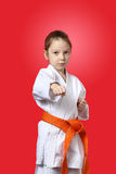 Girl is hitting right hand Royalty Free Stock Photo