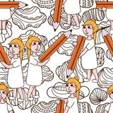 Girl hold big pencil drawing coloring cloud seamless pattern Stock Photo