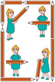 Girl hold big pencil set frame Royalty Free Stock Photography