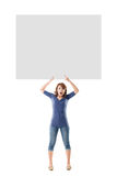 Girl hold a blank board Stock Photo
