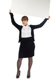Girl Hold Blank Whiteboard Over Head
