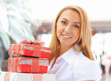 girl hold  boxes. Royalty Free Stock Photography