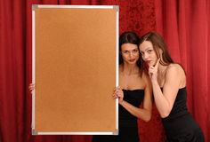Girl hold empty board Royalty Free Stock Images