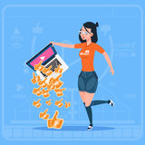 Girl Hold Laptop With Thumb Up Modern Video Blogger Vlog Creator Popular Channel Like. Flat Vector Illustration Stock Photos