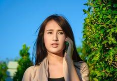 girl hold mobilephone stock image