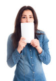 Girl hold notepad near face isolated Stock Images