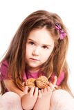 Girl hold nuts Royalty Free Stock Photos